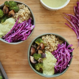 Vegan Roasted Vegetable Quinoa Bowl with Creamy Green Sauce