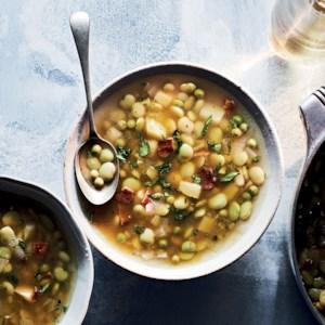 Spring Lima Bean Soup with Crispy Bacon