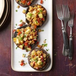 Sweet Potato Hash Stuffed Portobello Mushrooms