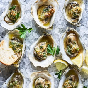 Broiled Oysters with Anchovy-Almond Butter