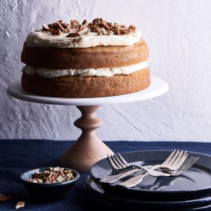 Sweet Potato Spice Cake with Orange-Cinnamon Cream Cheese Frosting
