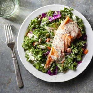 Superfood Chopped Salad with Salmon & Creamy Garlic Dressing