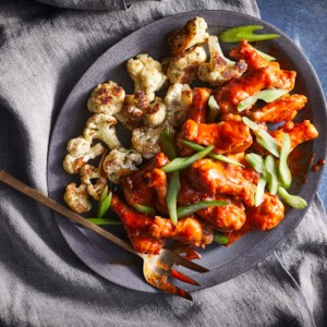 Buffalo Chicken Wings with Ranchy Cauliflower