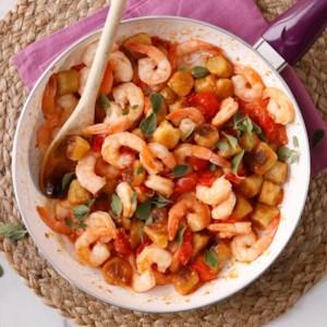 Shrimp Oreganata Cauliflower Gnocchi