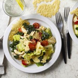 Kale & Chicken Caesar Salad with Parmesan Crisps
