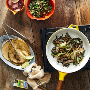 Mushroom Fajitas with Arugula-Pecan Salsa & Queso Fresco