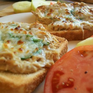 Tuna Melts Recipe - A cheesy tuna sandwich with onion and melted mozzarella.