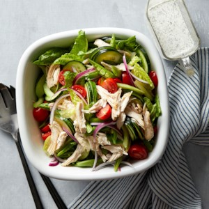 Spring Vegetable Salad with Chicken & Buttermilk-Herb Dressing