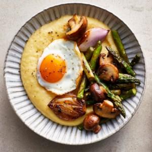 Polenta Bowls with Roasted Vegetables & Fried Eggs