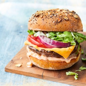 Vegetarian All-American Portobello Burgers
