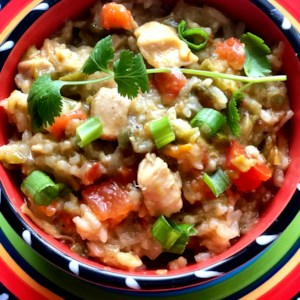 Instant Pot(R) Green Chili Chicken and Rice Recipe and Video - This is a great one-pot dish of green chili chicken and rice with 3 different types of chile peppers - Anaheim, jalapenos and fire-roasted green chiles.