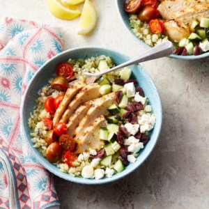 Greek Cauliflower Rice Bowls with Grilled Chicken