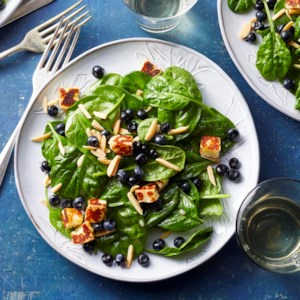 Spinach Salad with Blueberries, Almonds & Halloumi
