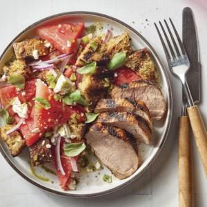 Grilled Pork Tenderloin with Watermelon Panzanella