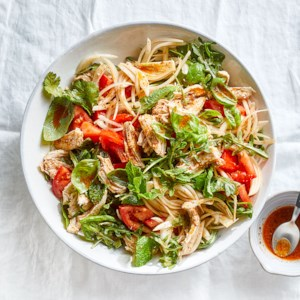 Poached Chicken & Arugula Salad with Tomatoes & Chili Crisp