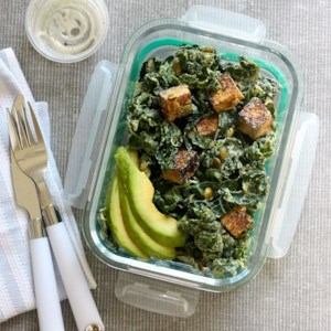 Vegan Kale Caesar Salad with Tofu Croutons