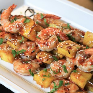 Grilled Teriyaki Shrimp and Pineapple Skewers Recipe - These simple savory-sweet shrimp and pineapple skewers are basted with a homemade teriyaki sauce and cook up in just a few minutes on the grill.