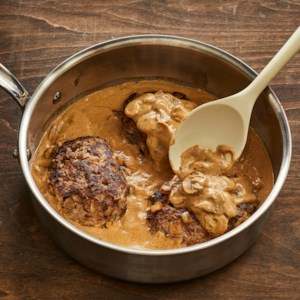 Low-Carb Salisbury Steak Recipe - Homemade mushroom gravy takes the flavor of simple hamburger steaks to the next level. It's still quick enough to cook for a weeknight dinner.