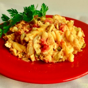 Pantry Chicken Casserole Recipe - Your family will love this easy chicken casserole made with items you most likely have on hand, like leftover chicken, pasta, canned tomatoes, and cheese.