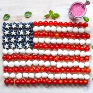 American Flag Caprese Salad with Blueberry-Balsamic Vinaigrette