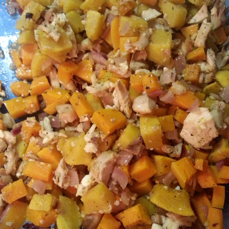 Garlic-Feta Roasted Butternut Squash with Chicken