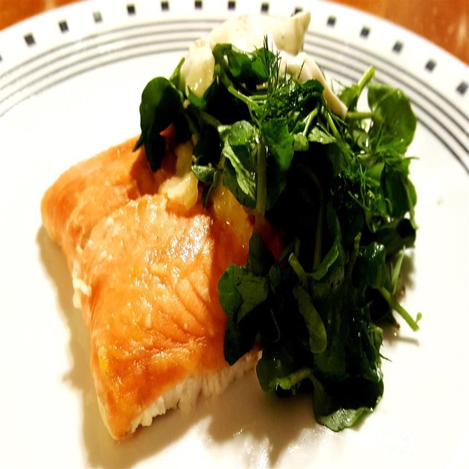 Lemony Salmon with Watercress Salad