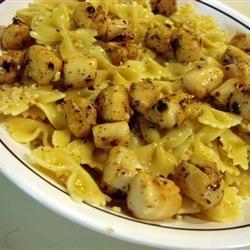 Basil Pan-Seared Scallops over Pasta