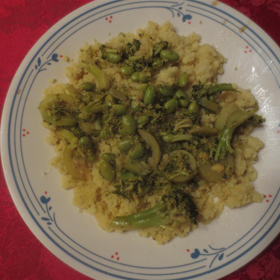 Indian Curry Couscous with Broccoli and Edamame Mary Firdawsi
