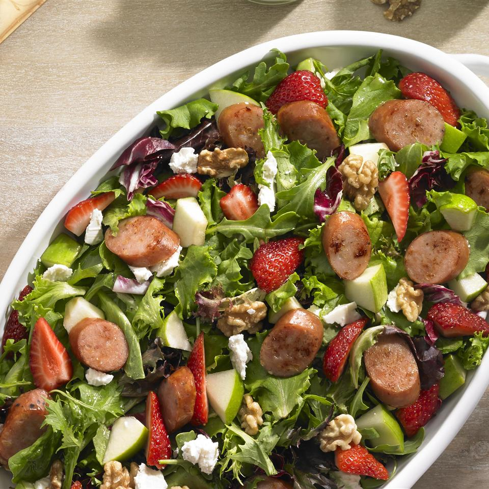 Johnsonville Strawberry and Apple Chicken Sausage Salad From the Kitchen at Johnsonville Sausage