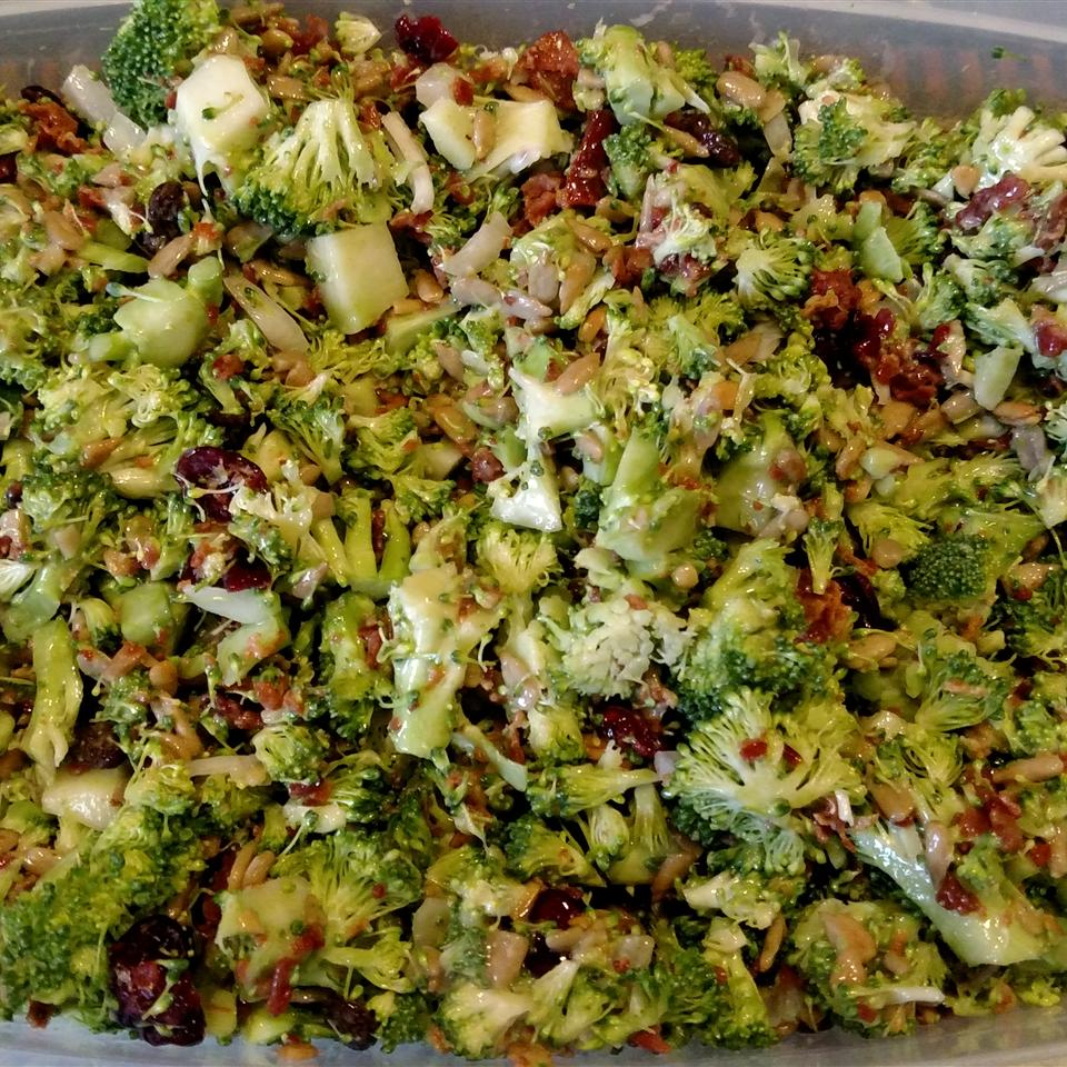 Bacon Broccoli Salad with Raisins and Sunflower Seeds Lisa Prater