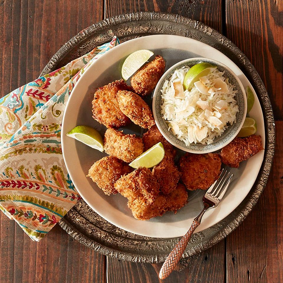 Jerk Chicken Nuggets with Lime Coconut Rice Reynolds Kitchens(R)