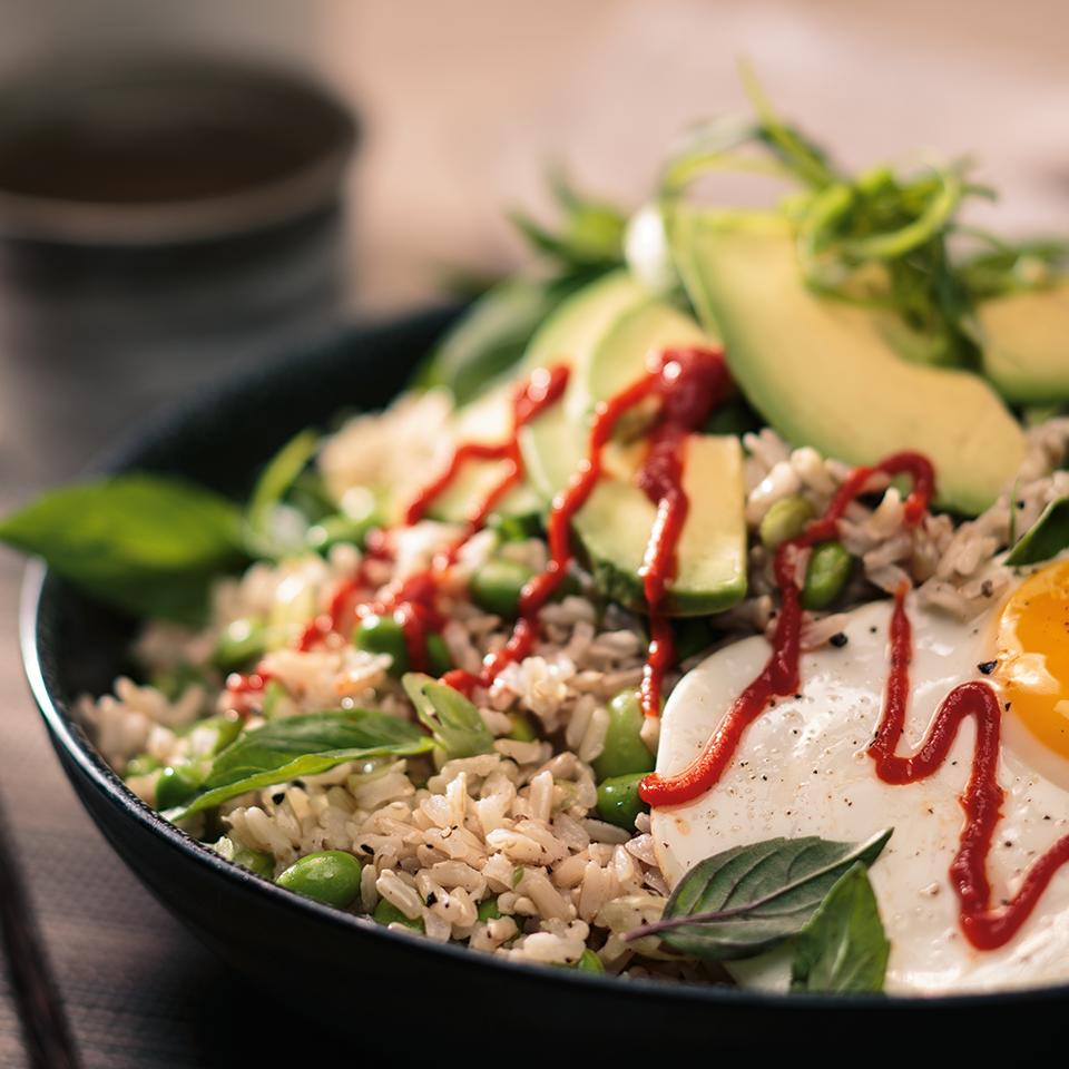 Egg and Edamame Brown Rice Bowl