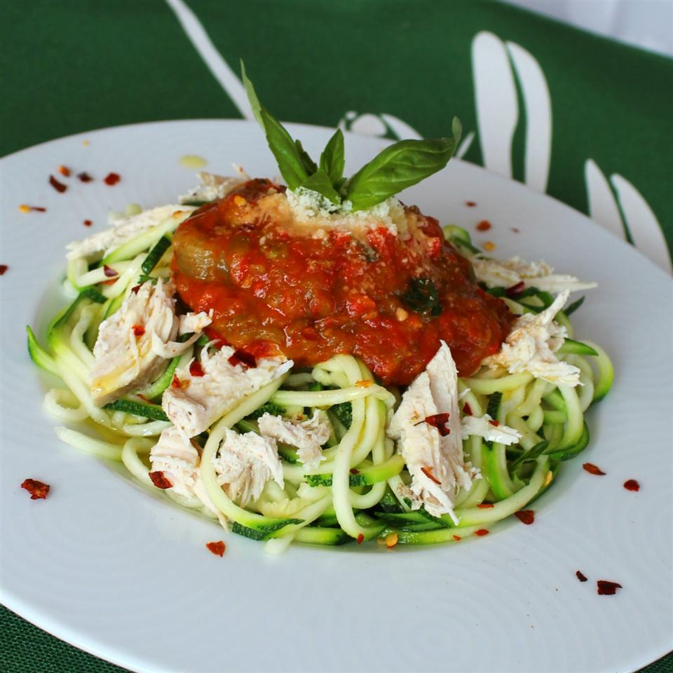 Zucchini Pasta with Roasted Red Pepper Sauce and Chicken Volleyballmom