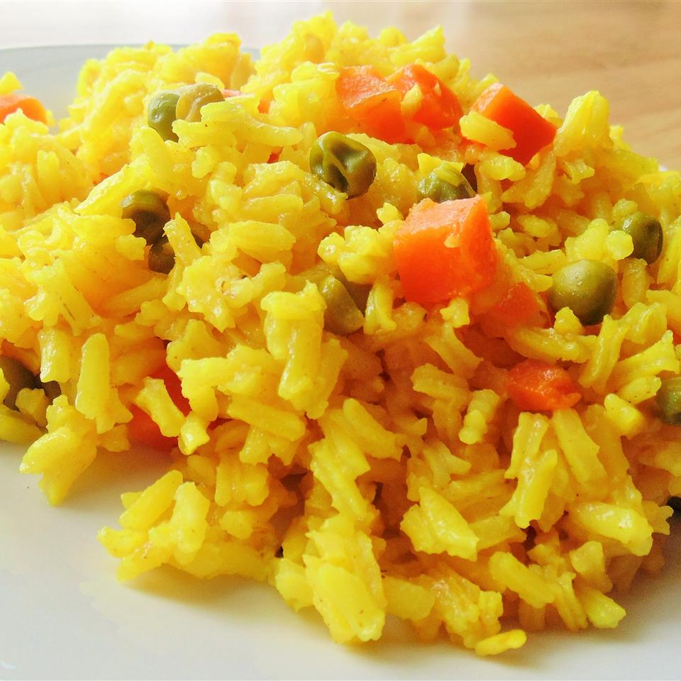 Turmeric Rice with Peas and Carrots