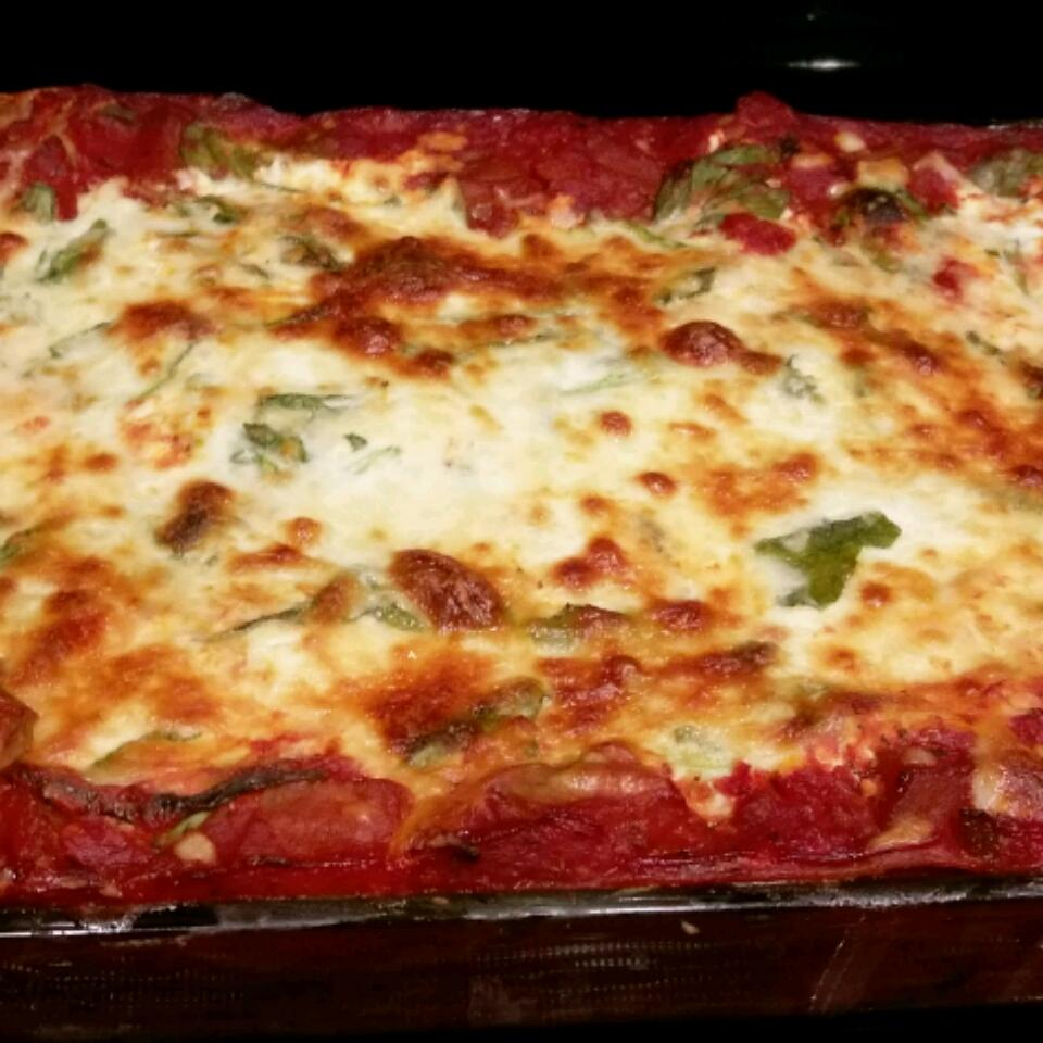 Low Fat Cheesy Spinach and Eggplant Lasagna