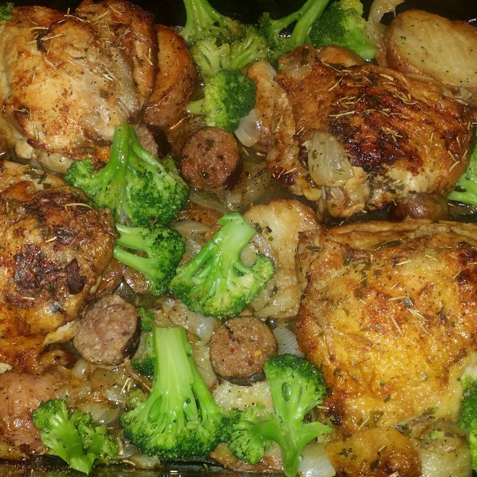 Crispy Oven-Roasted Rosemary Chicken with Sausage and Potatoes nicknack81