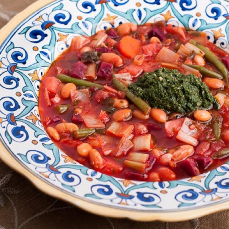 Red Winter Minestrone with Winter Greens Pesto