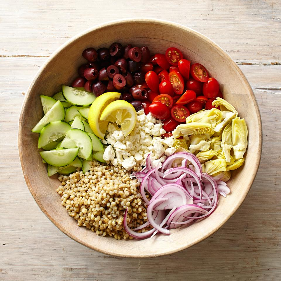 Greek Sorghum Bowl with Artichokes and Olives