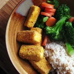 Breaded, Fried, Softly Spiced Tofu