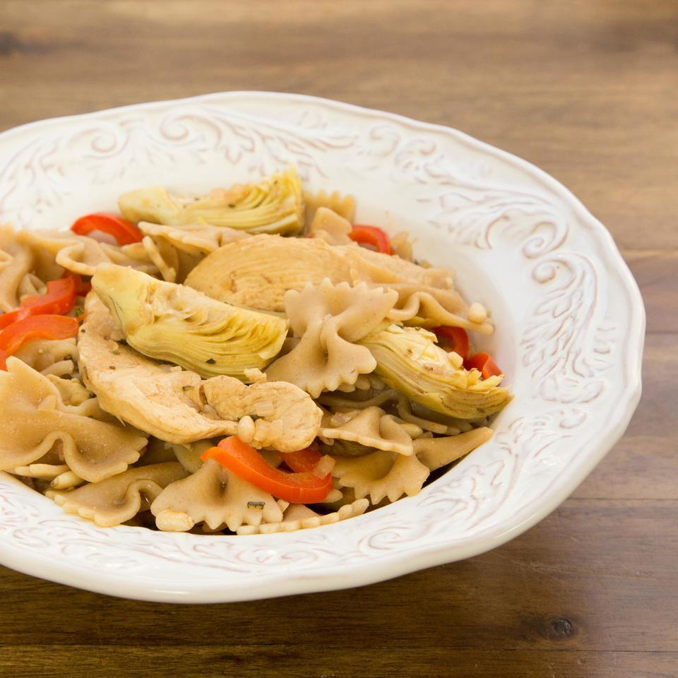 Bow Ties with Chicken, Red Peppers & Artichokes EatingWell Test Kitchen