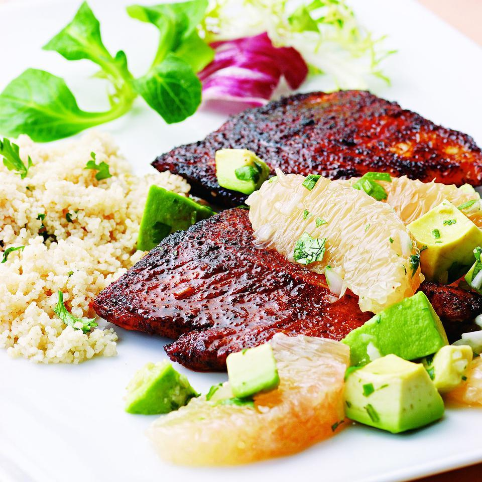 Spiced Turkey with Avocado-Grapefruit Relish EatingWell Test Kitchen