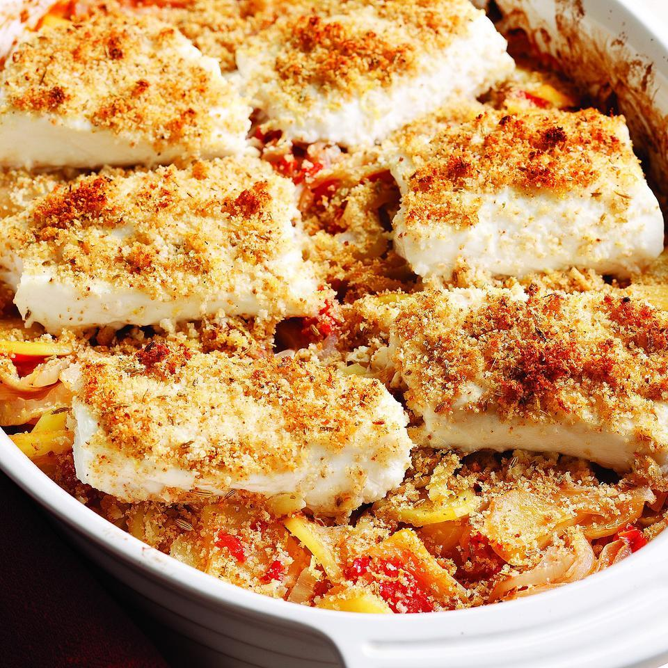 Here's a roasted fish entree plus side dish all in one package. Besides the convenience of one roasting pan, both the fish and the vegetables get the benefit of their flavors mingling as they cook side by side. The recipe calls for a firm white fish, such as striped bass or cod, but salmon would also work beautifully with the fennel, potatoes and tomatoes.
