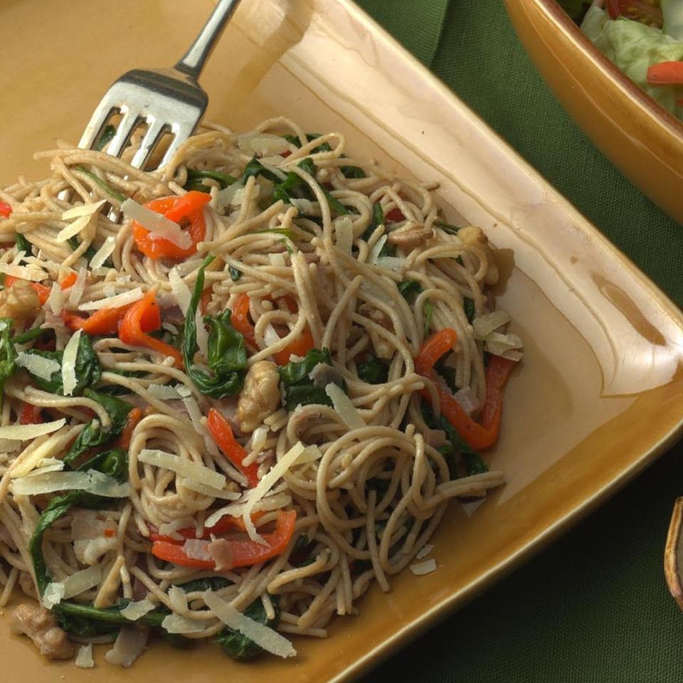 Spaghetti with Arugula, Roasted Peppers & Prosciutto Jim Romanoff