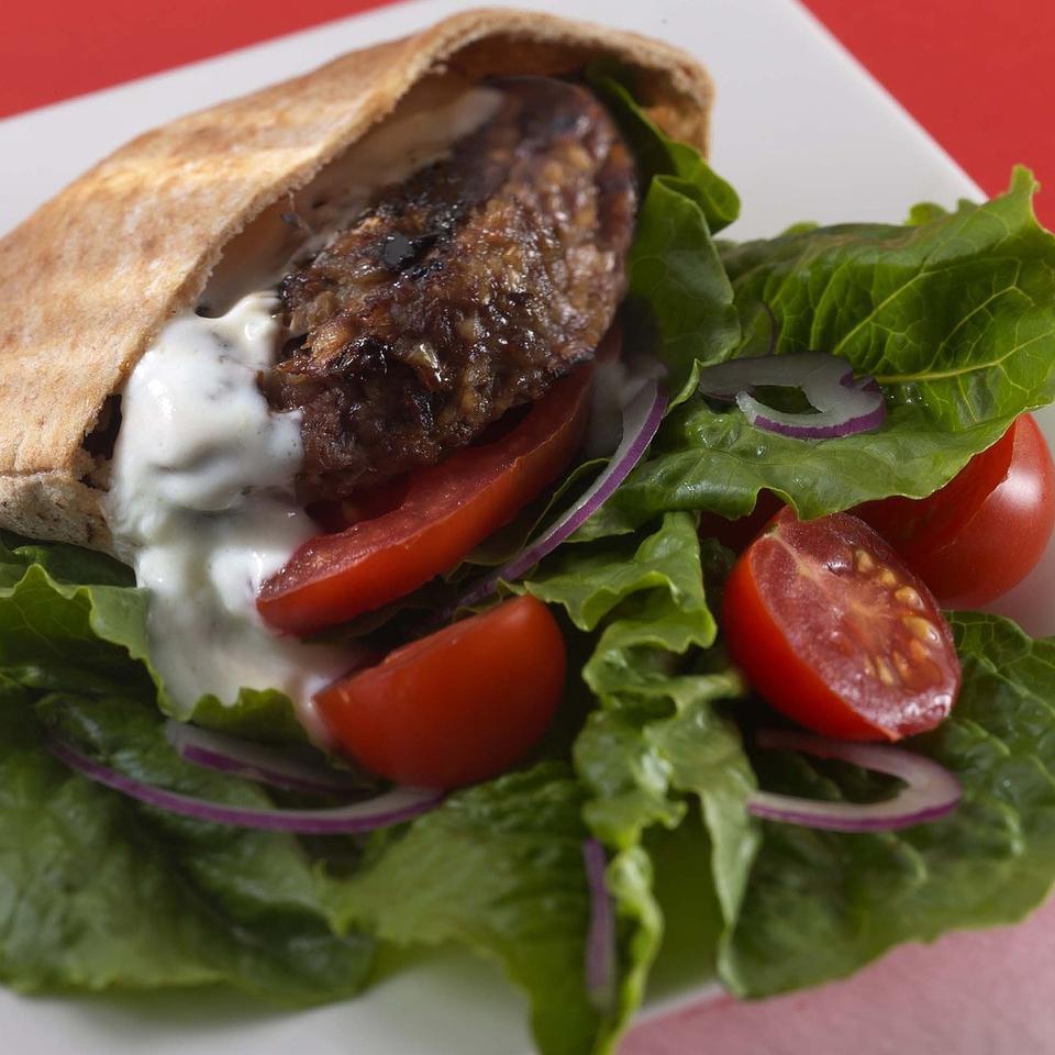 Middle Eastern Burgers with Yogurt-Garlic Sauce EatingWell Test Kitchen