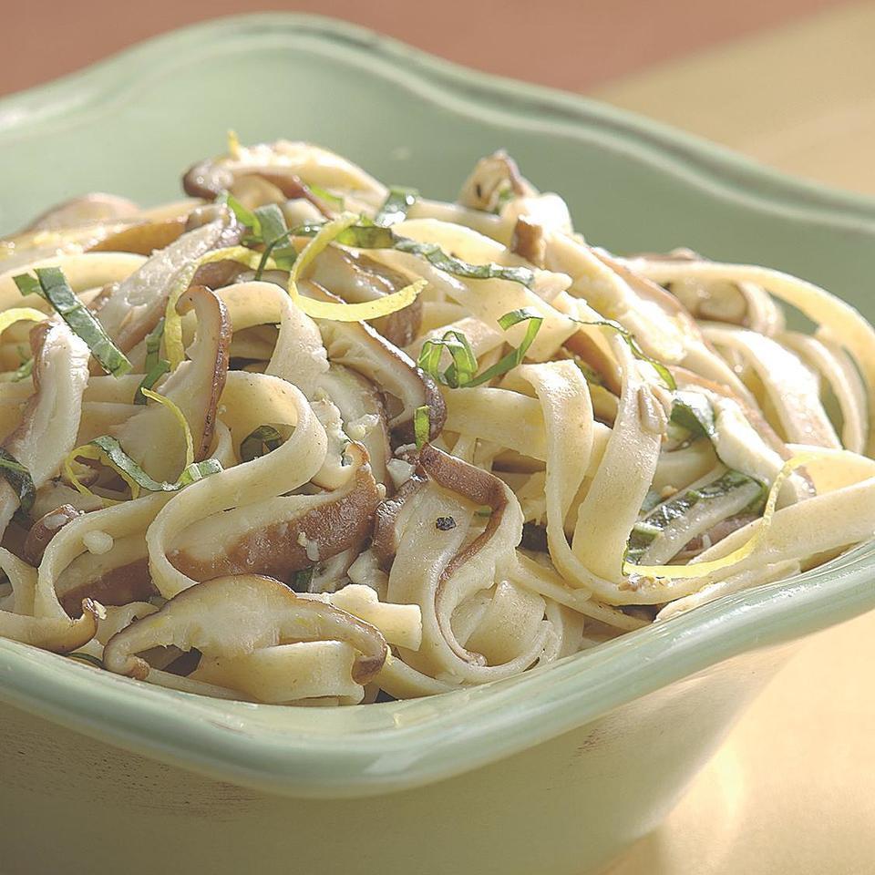 Fettuccine with Shiitake Mushrooms & Basil EatingWell Test Kitchen