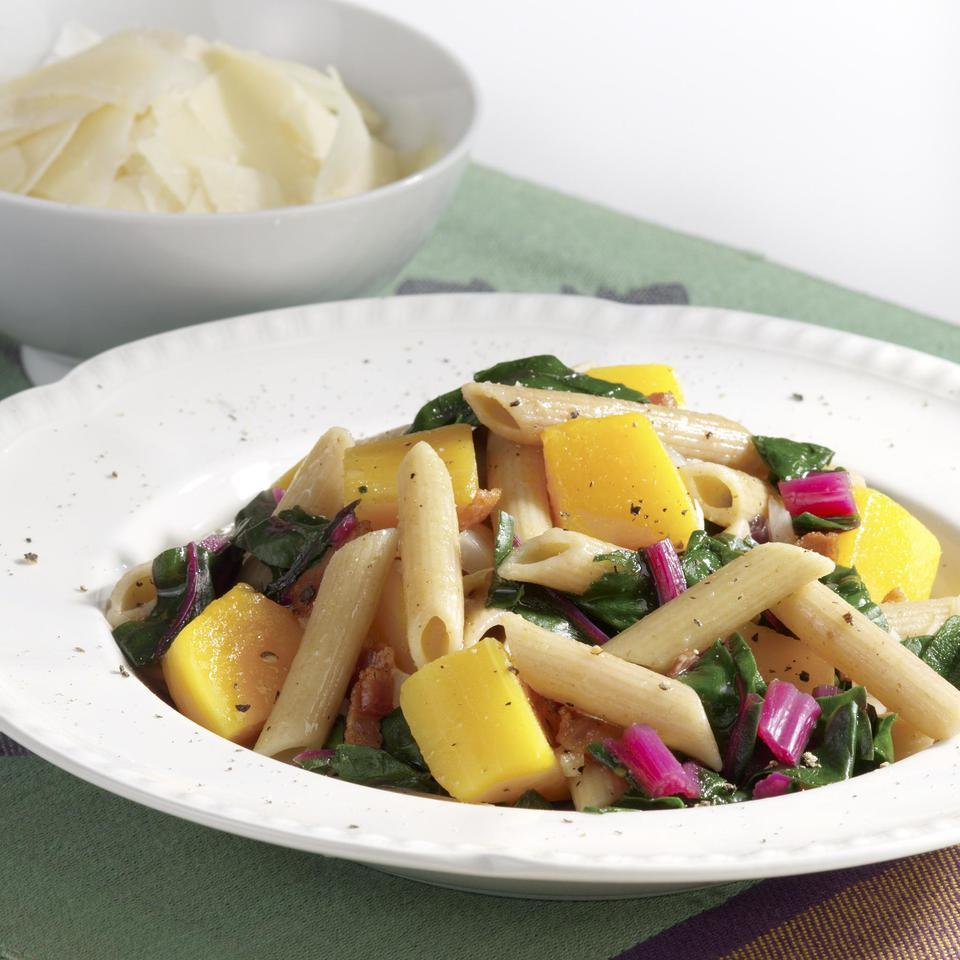 Penne with Braised Squash & Greens EatingWell Test Kitchen