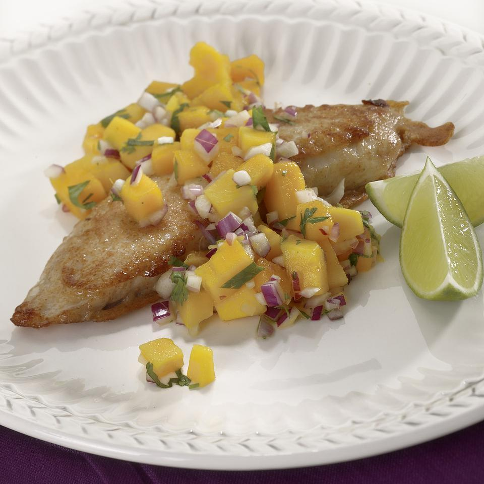 Beer-Battered Tilapia with Mango Salsa EatingWell Test Kitchen