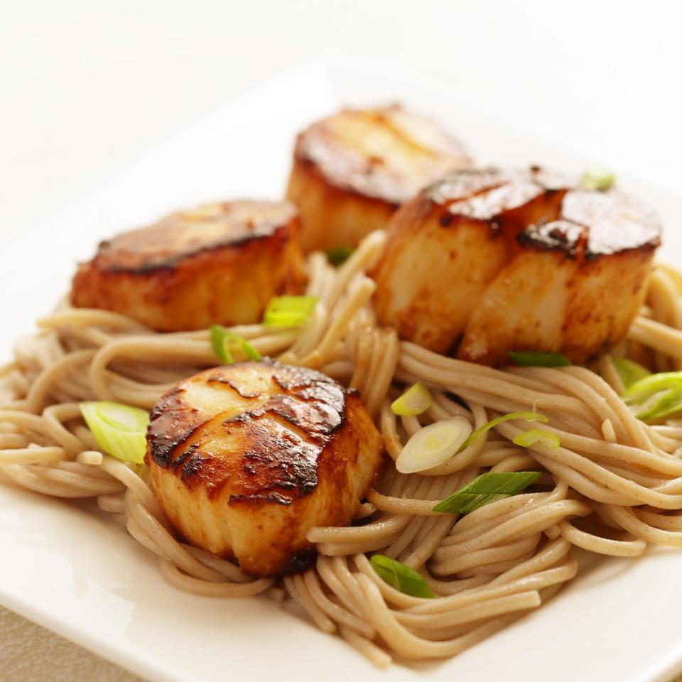 Miso-Glazed Scallops with Soba Noodles EatingWell Test Kitchen