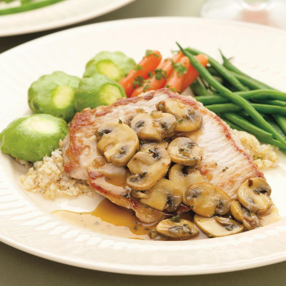 Boneless Pork Chops with Mushrooms & Thyme EatingWell Test Kitchen