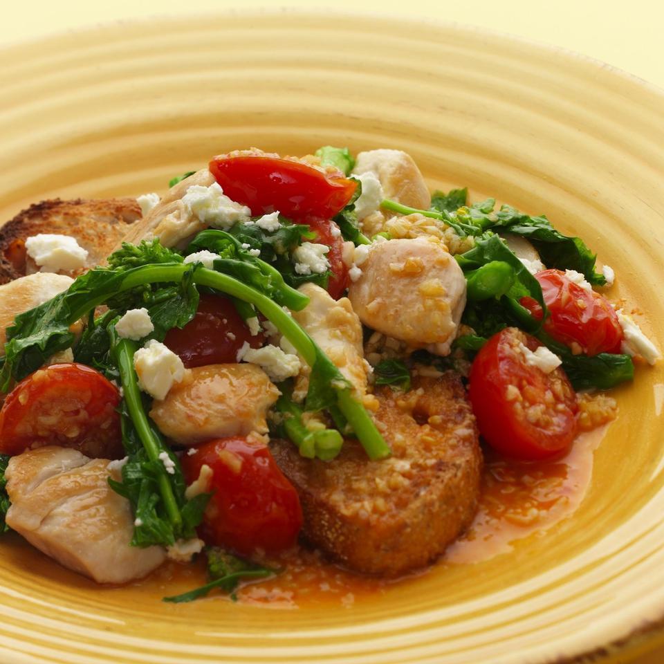 Chicken, Broccoli Rabe & Feta on Toast EatingWell Test Kitchen